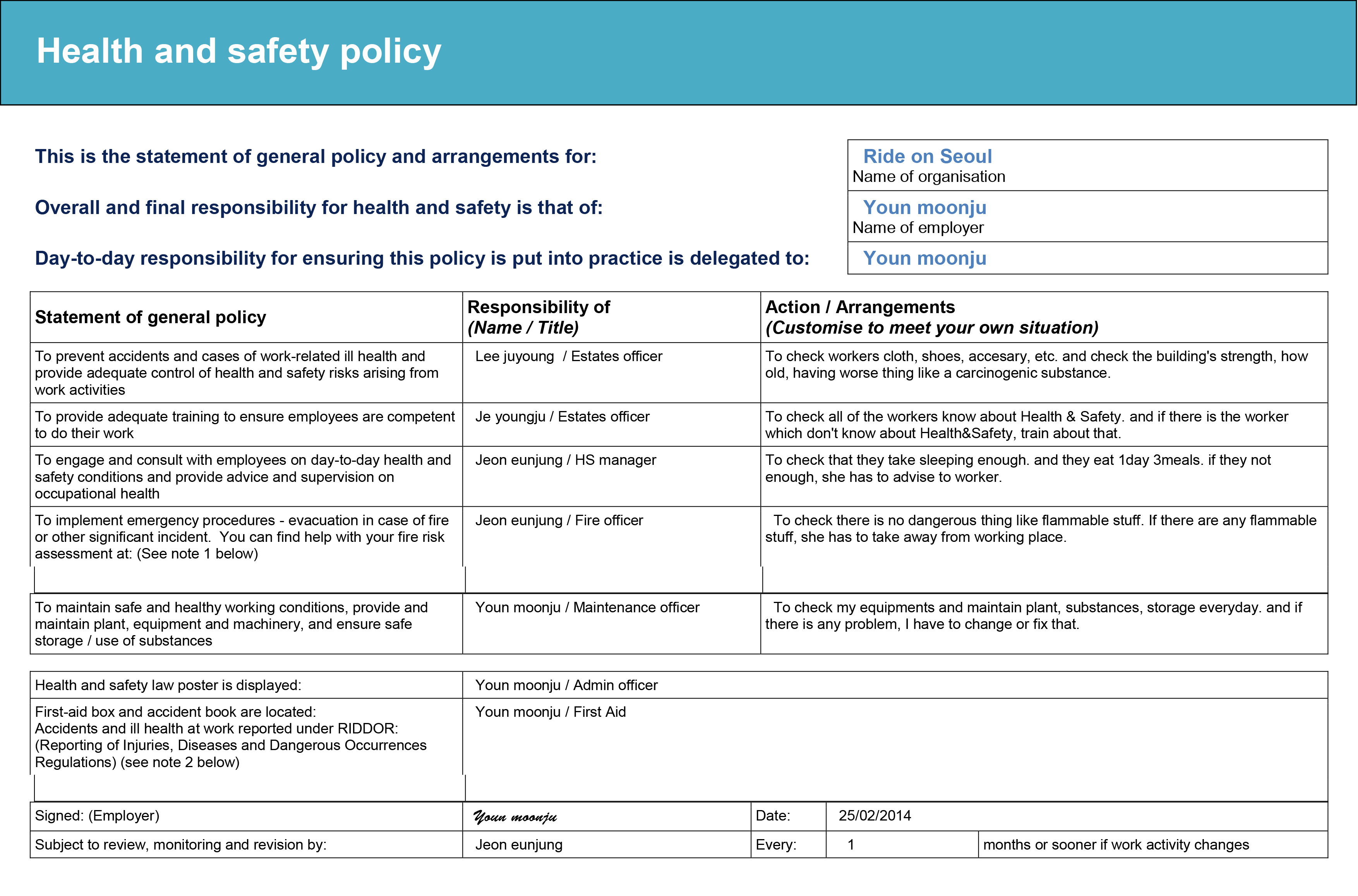 Hse Health And Safety Policy Template 2 6 Health And Safety Implications 2014 Joy Youn